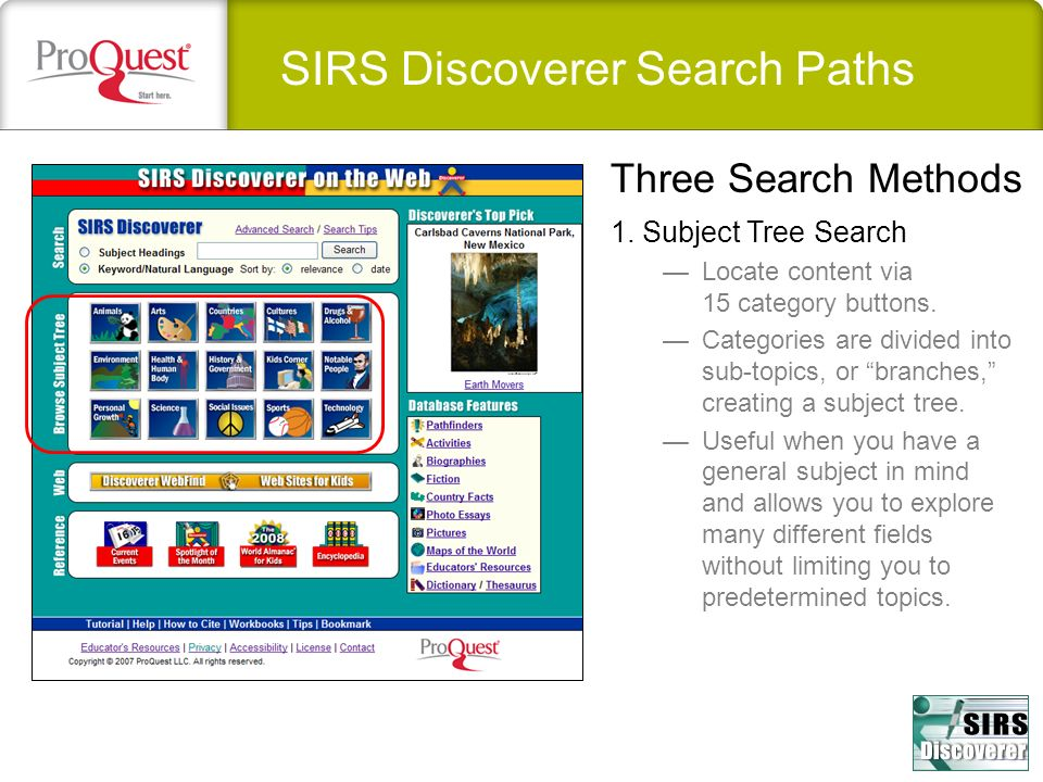 SIRS Discoverer Search Paths