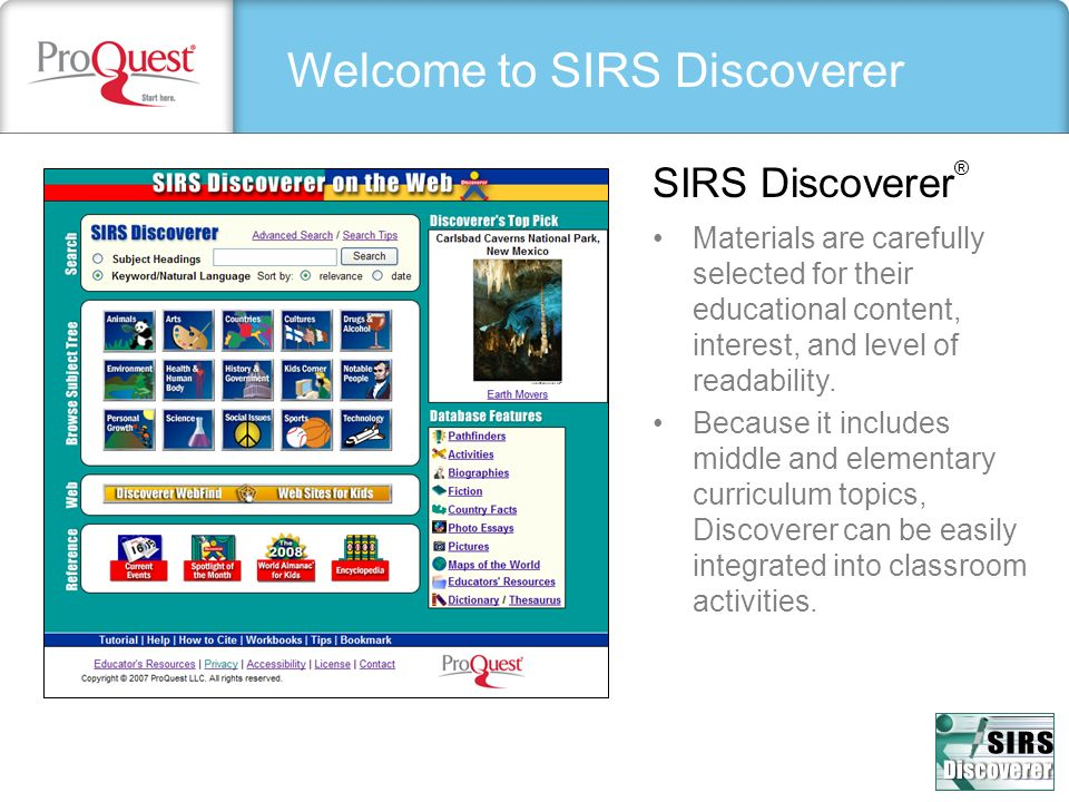 Welcome to SIRS Discoverer