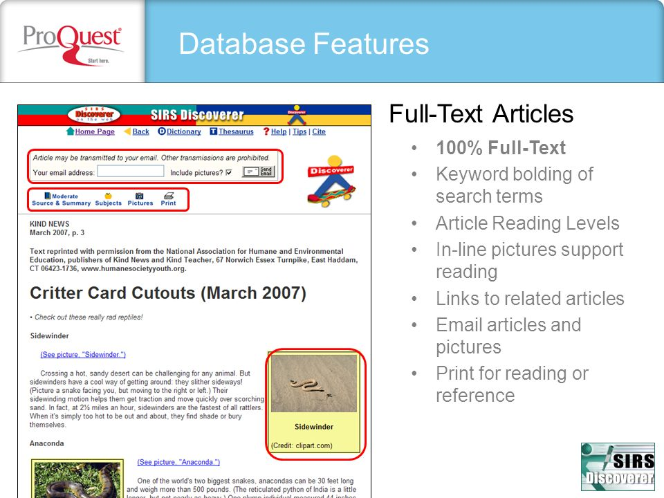 Database Features Full-Text Articles 100% Full-Text