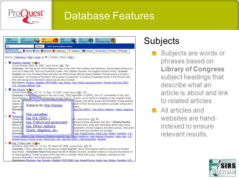 Database Features Subjects