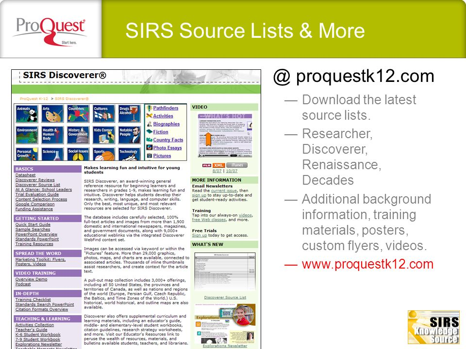SIRS Source Lists & More