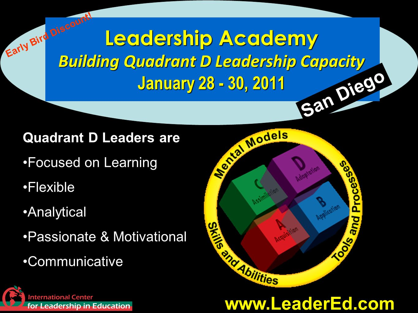 Leadership Academy Building Quadrant D Leadership Capacity January 28 - 30, 2011
