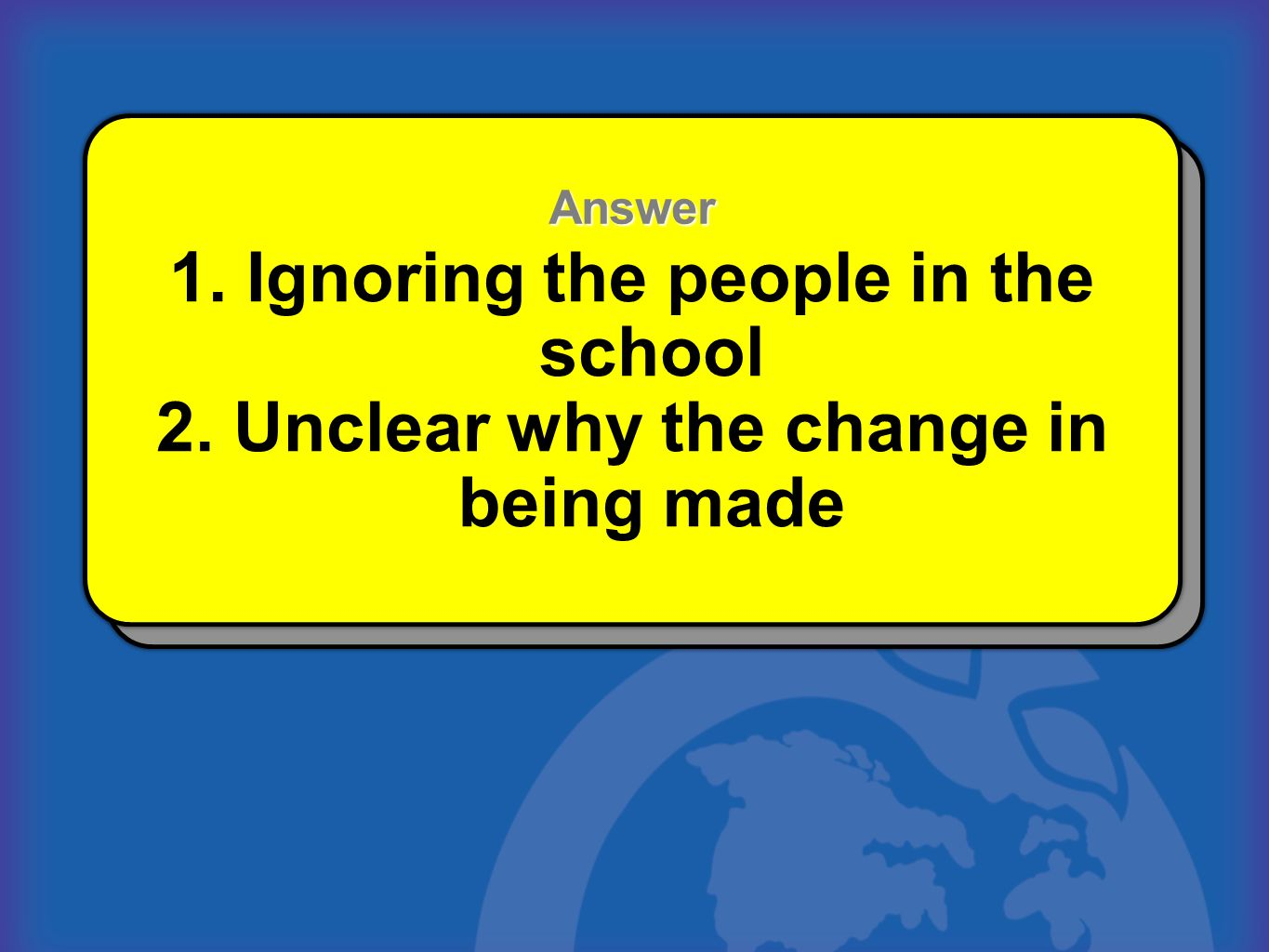 1. Ignoring the people in the school