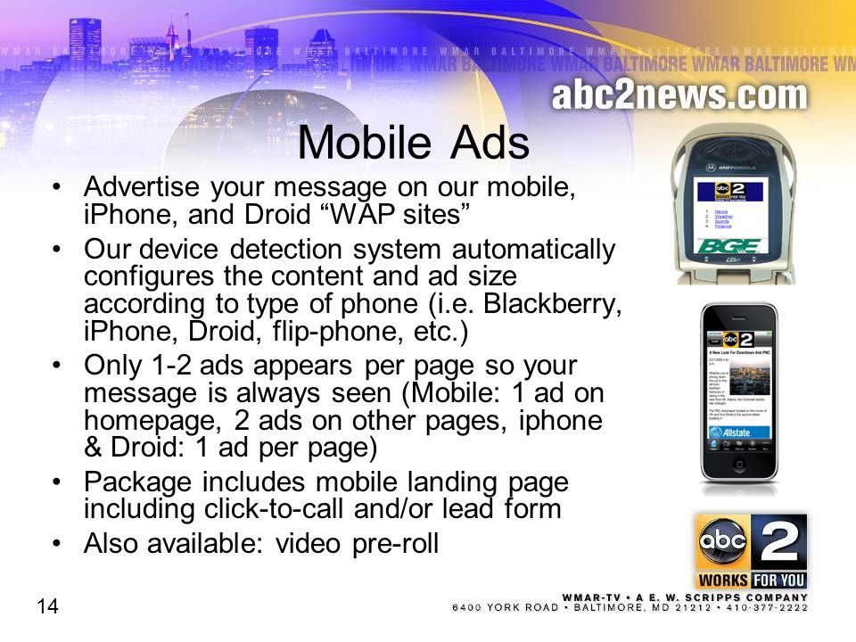 Mobile Ads Advertise your message on our mobile, iPhone, and Droid WAP sites