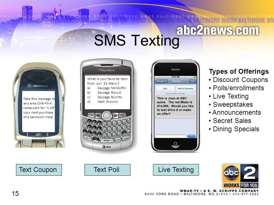 SMS Texting Types of Offerings Discount Coupons Polls/enrollments