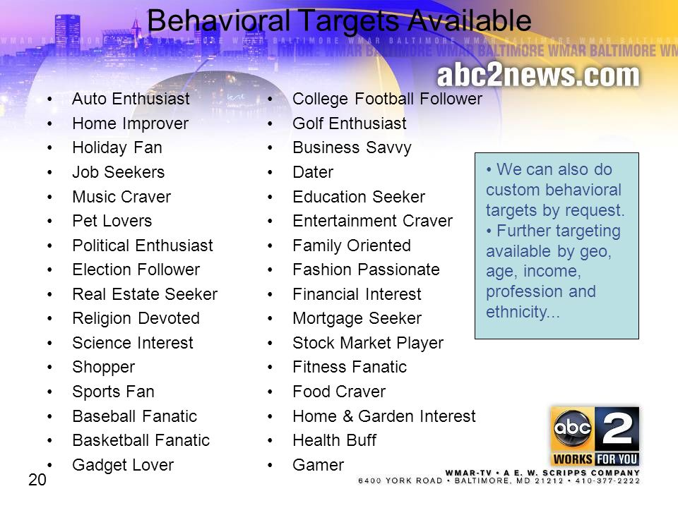 Behavioral Targets Available