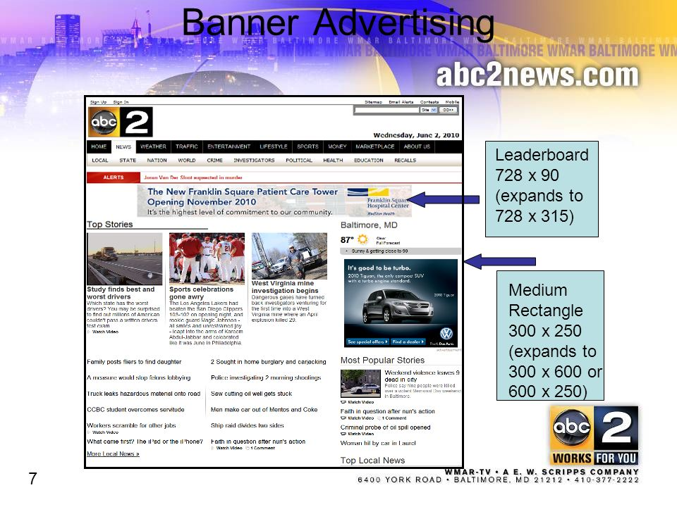 Banner Advertising Leaderboard 728 x 90 (expands to 728 x 315) Medium