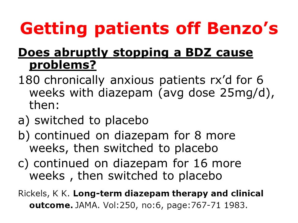 Getting patients off Benzo's