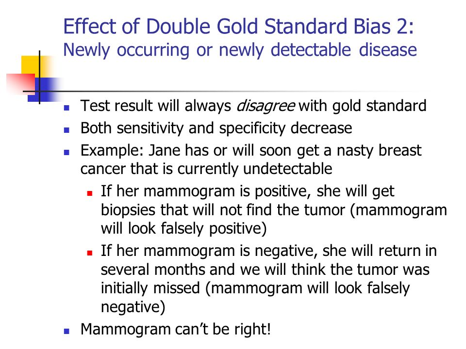 Effect of Double Gold Standard Bias 2: Newly occurring or newly detectable disease