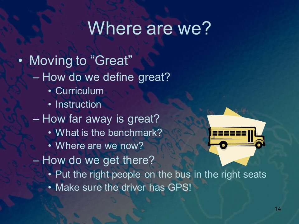 Where are we Moving to Great How do we define great