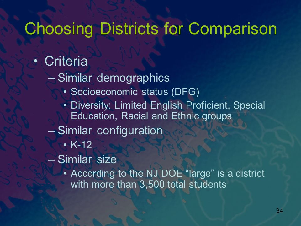 Choosing Districts for Comparison