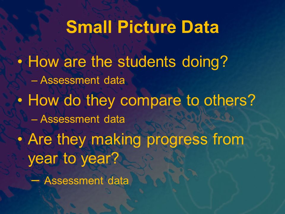 Small Picture Data How are the students doing
