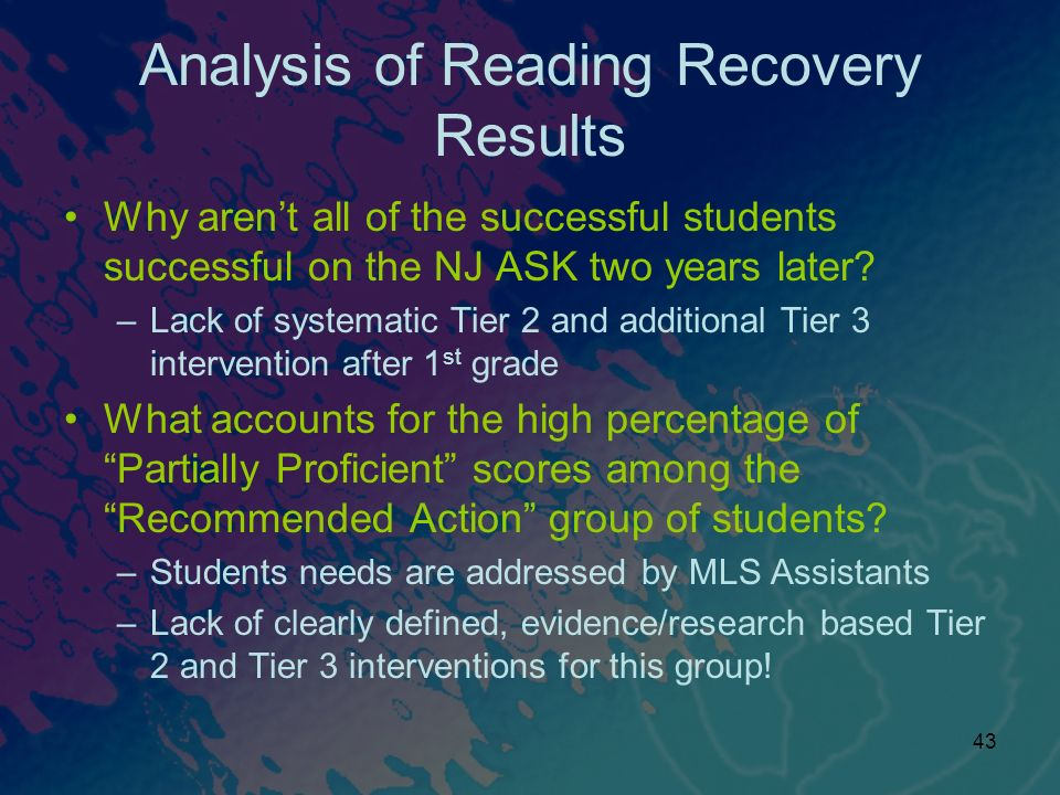Analysis of Reading Recovery Results