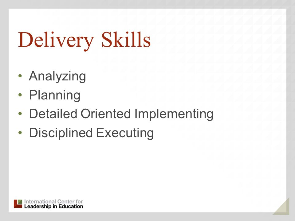 Delivery Skills Analyzing Planning Detailed Oriented Implementing