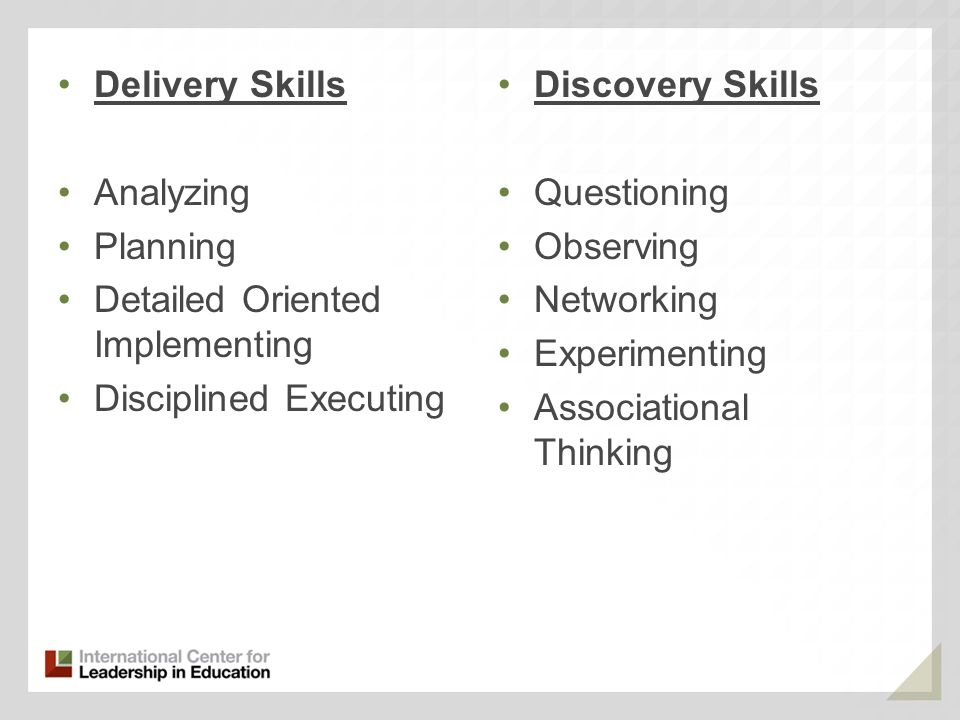 Delivery Skills Analyzing. Planning. Detailed Oriented Implementing. Disciplined Executing. Discovery Skills.