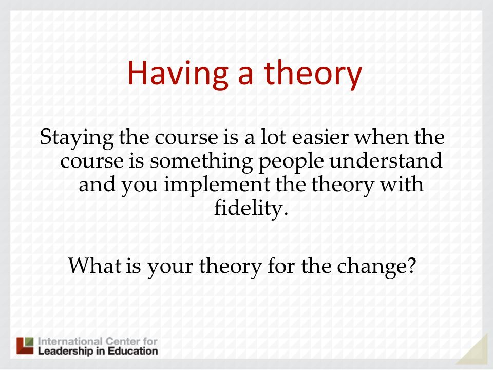 What is your theory for the change