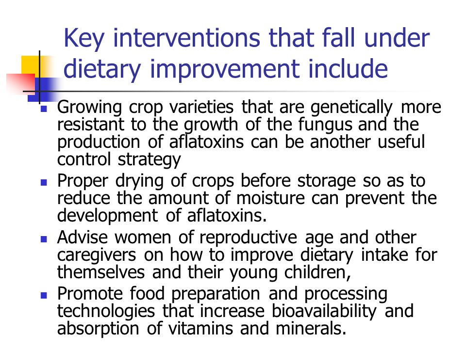 Key interventions that fall under dietary improvement include