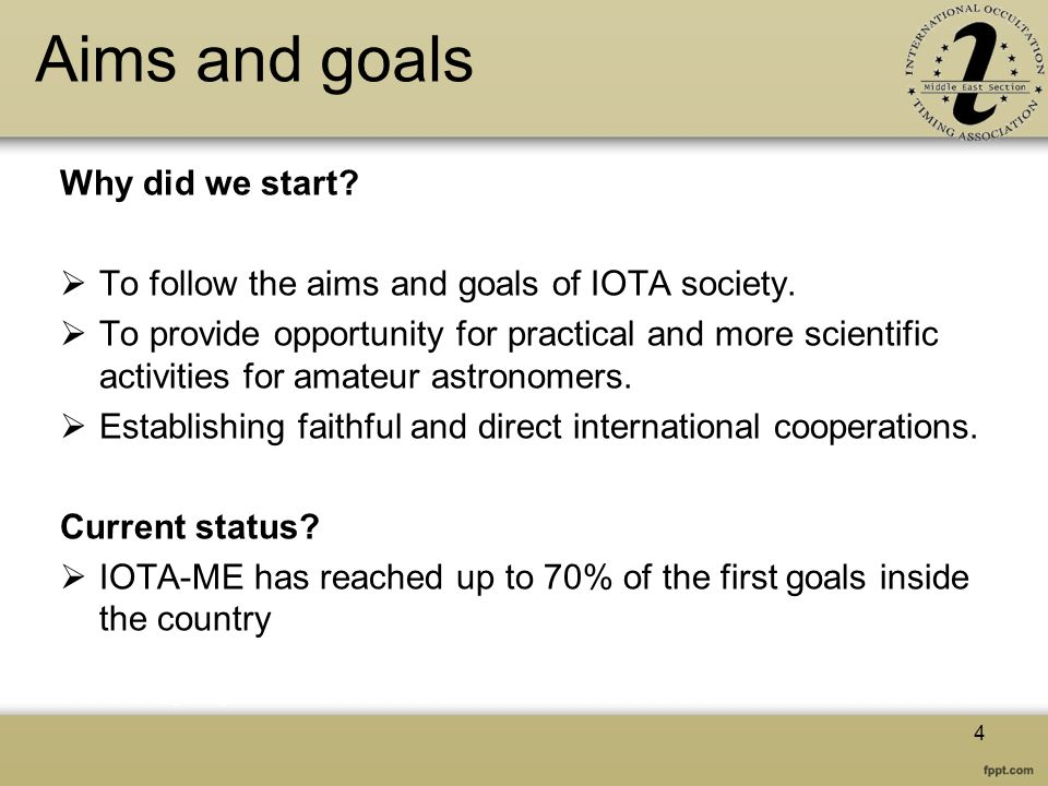 Aims and goals Why did we start