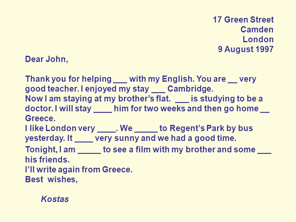 17 Green Street Camden. London. 9 August 1997. Dear John,