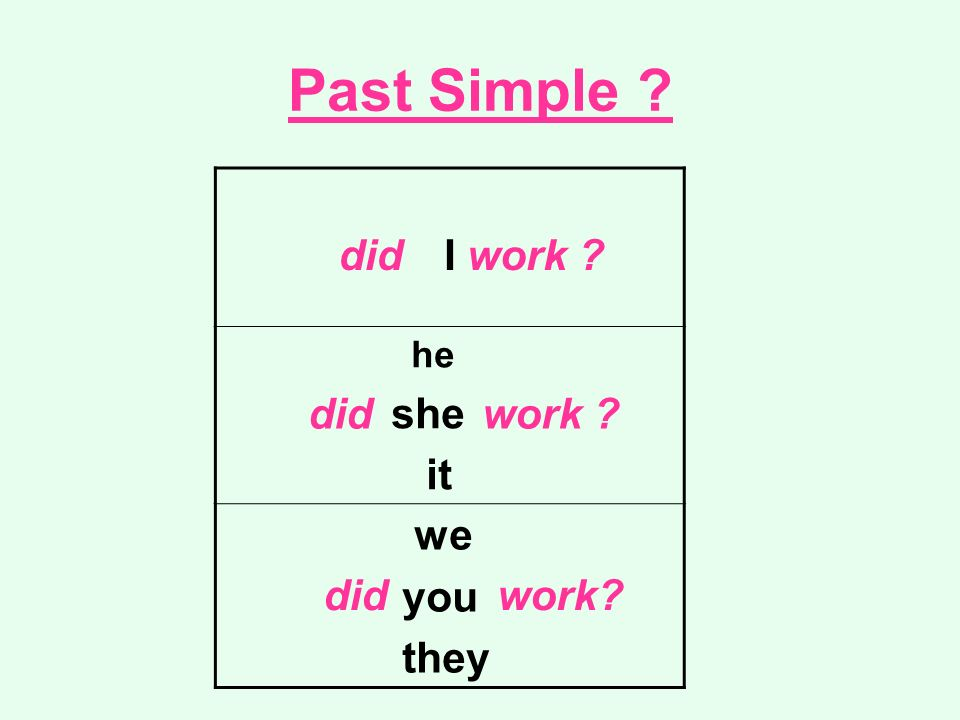 Past Simple I he she it we you they did work did work did work