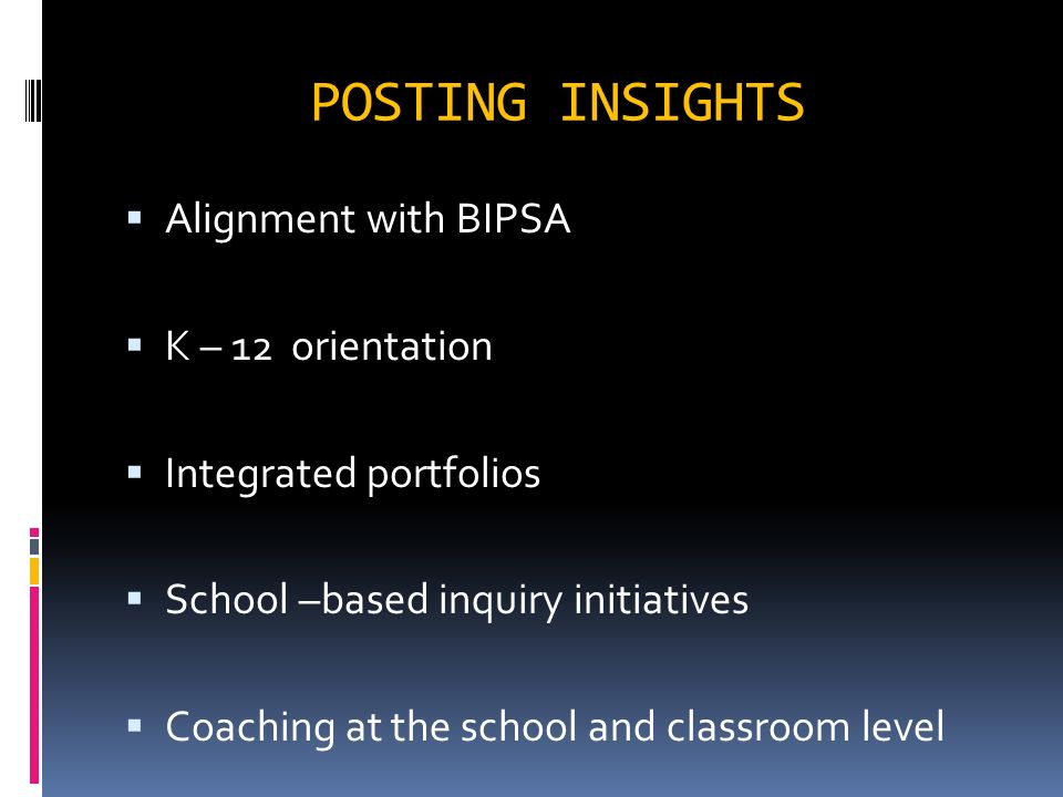 POSTING INSIGHTS Alignment with BIPSA K – 12 orientation