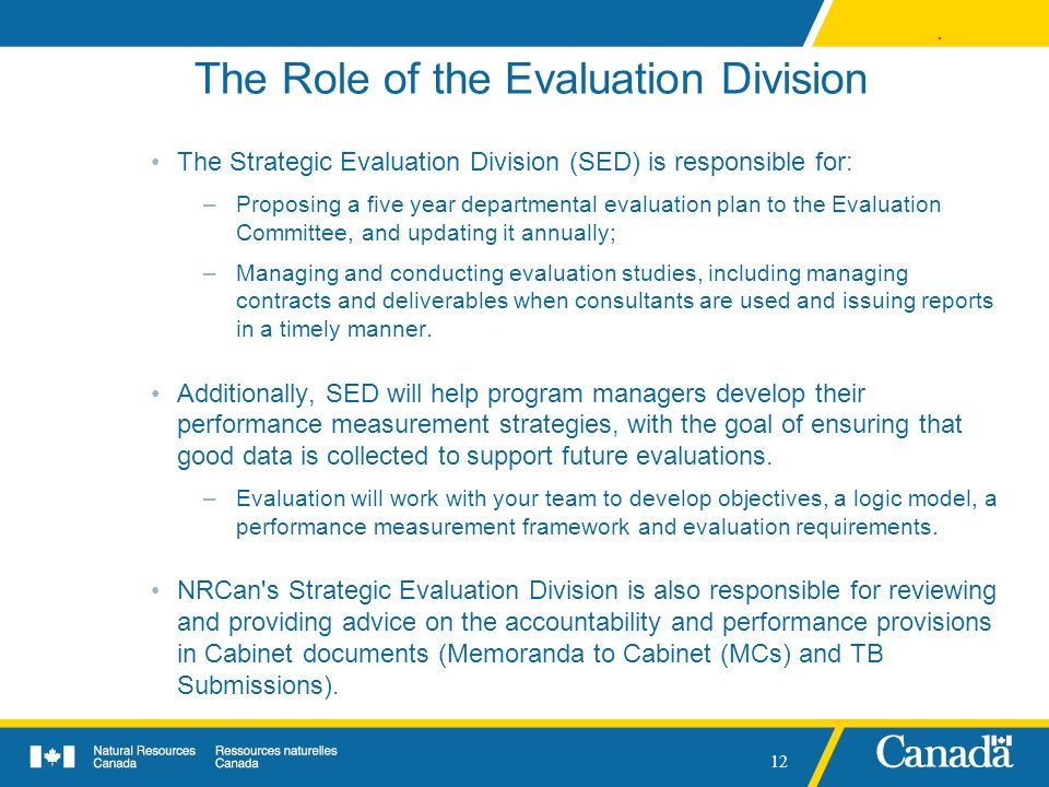 The Role of the Evaluation Division