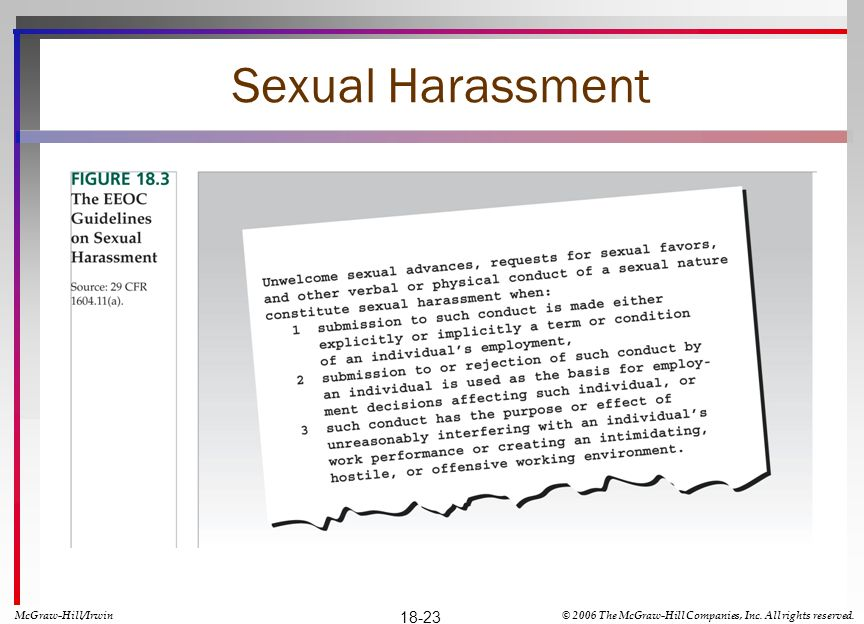 Sexual Harassment 18-23 McGraw-Hill/Irwin
