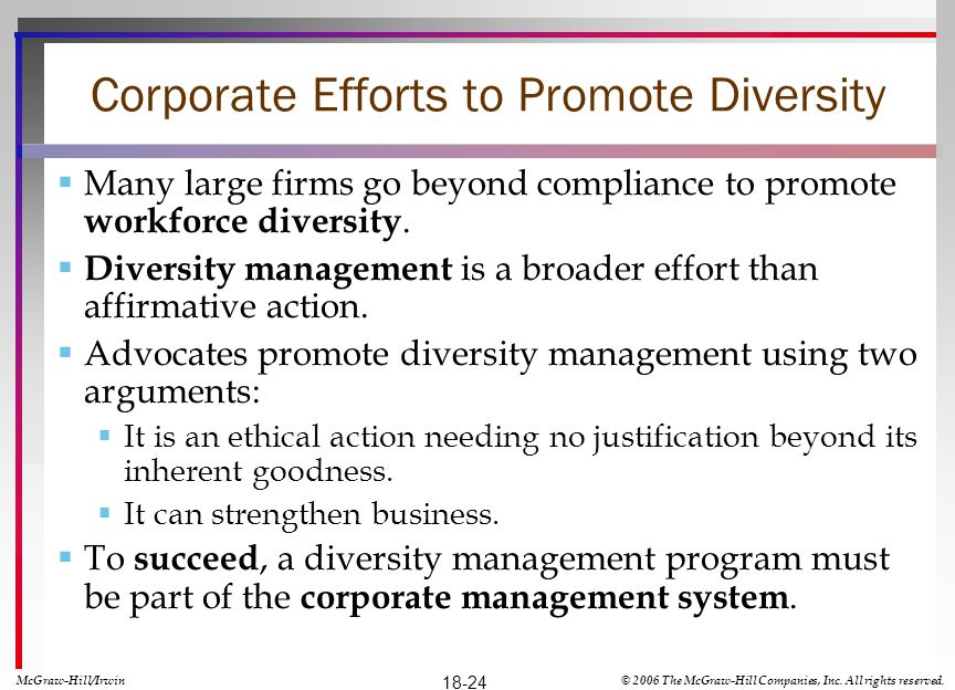 Corporate Efforts to Promote Diversity