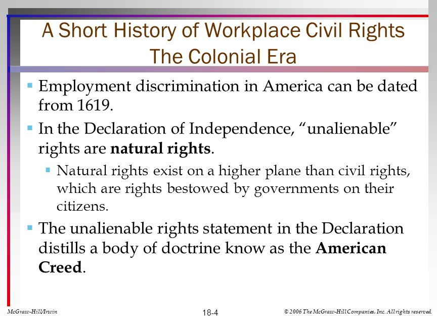 A Short History of Workplace Civil Rights The Colonial Era