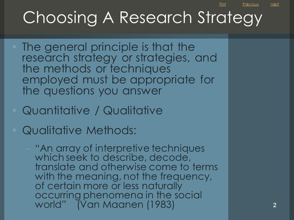 Choosing A Research Strategy