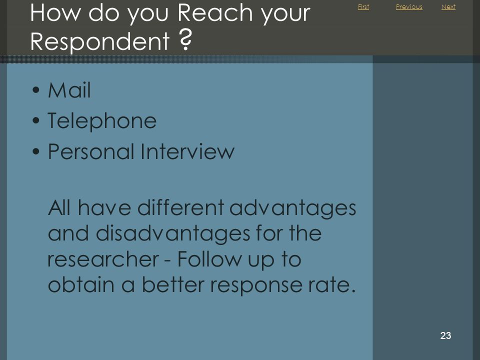 How do you Reach your Respondent