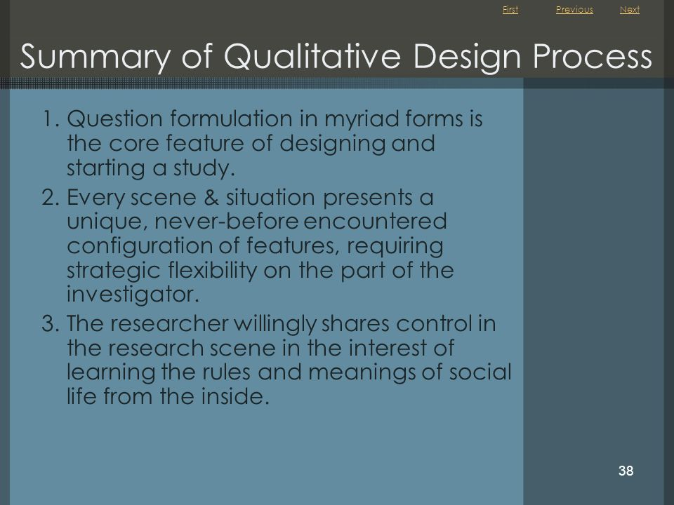 Summary of Qualitative Design Process