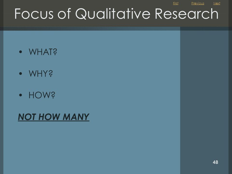 Focus of Qualitative Research
