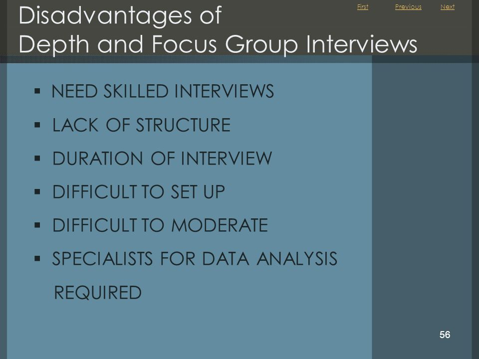 Disadvantages of Depth and Focus Group Interviews