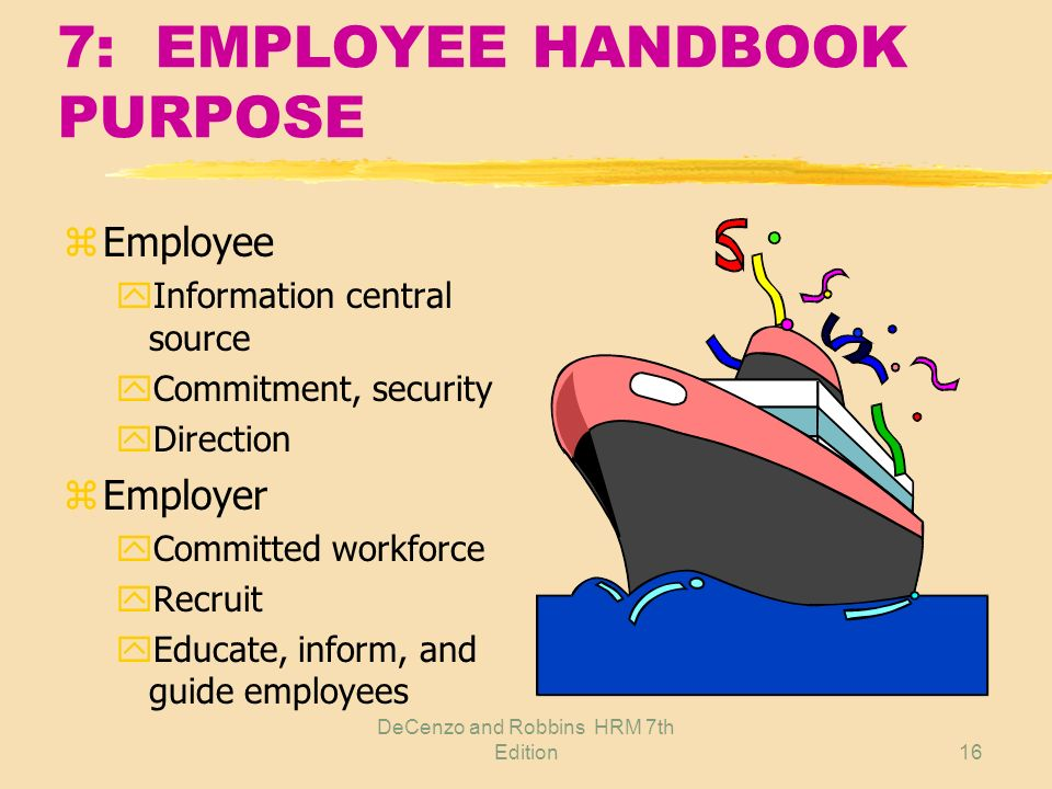 7: EMPLOYEE HANDBOOK PURPOSE