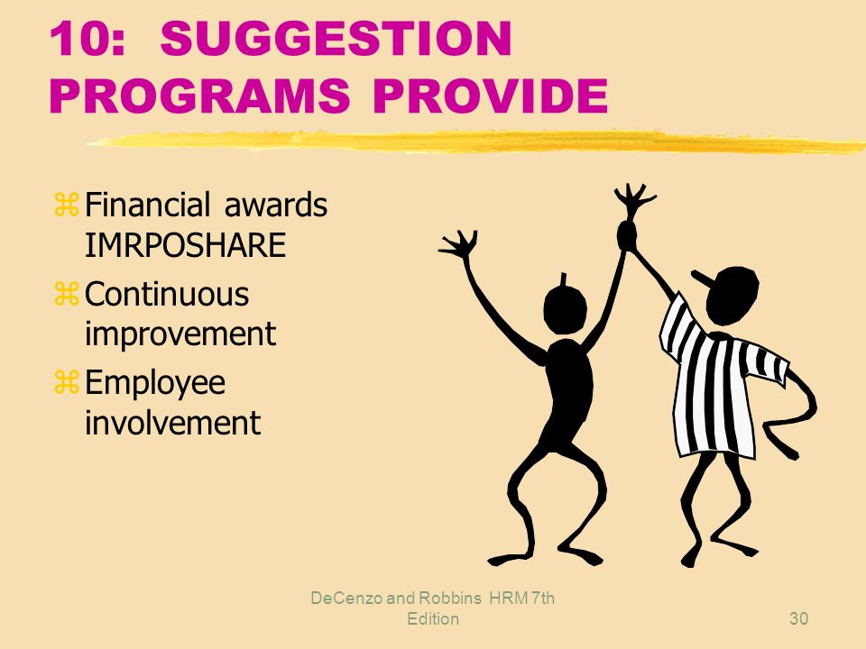 10: SUGGESTION PROGRAMS PROVIDE