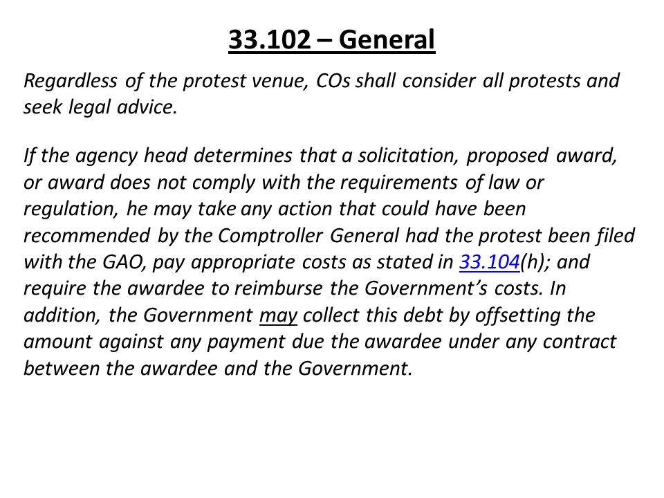 Gao Recommends Legislation Re Notice Of >> Far Part 33 Protests Disputes And Appeals Gao Rules And