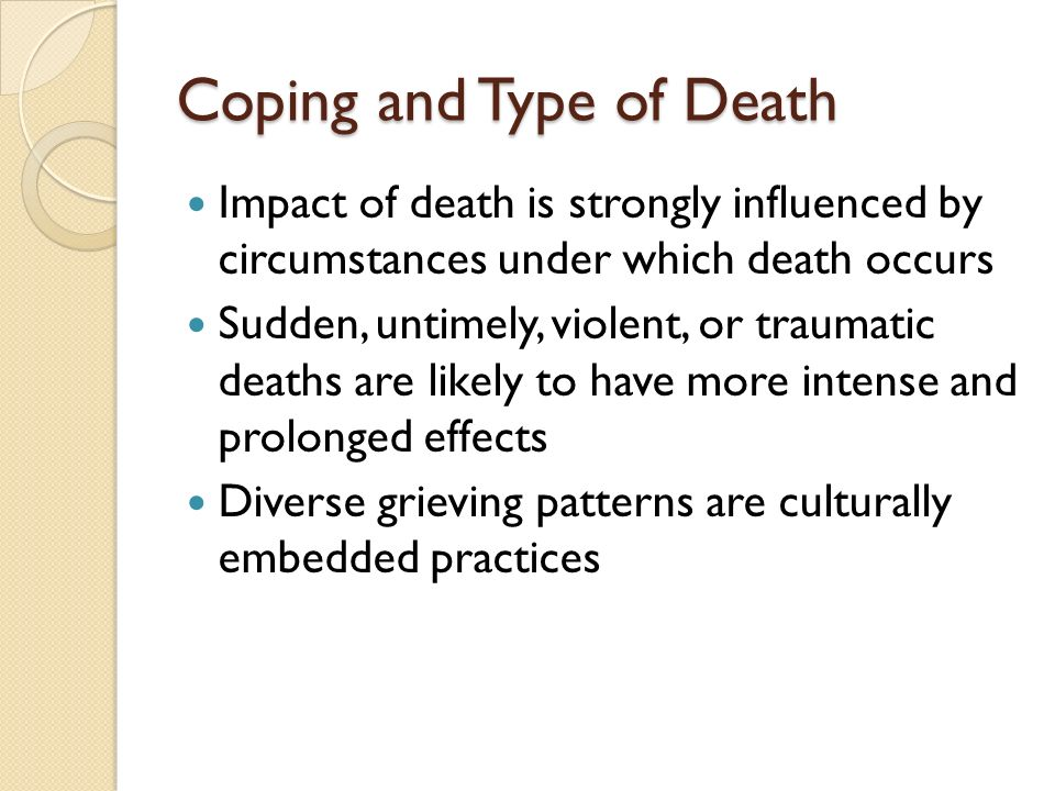 Coping and Type of Death