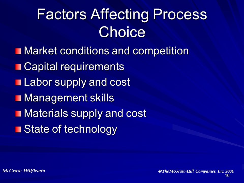 Factors Affecting Process Choice
