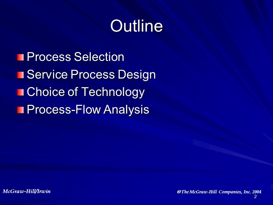 Outline Process Selection Service Process Design Choice of Technology