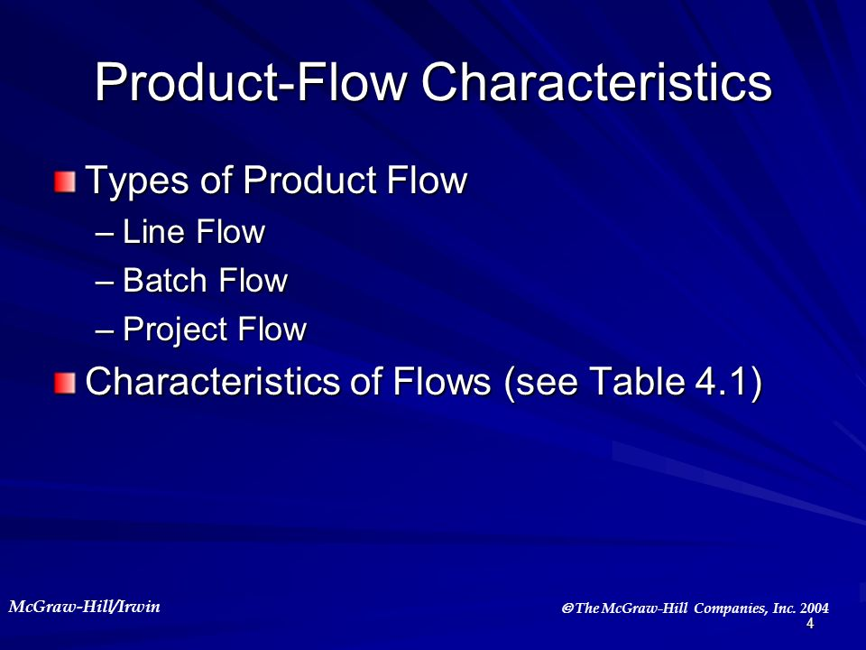 Product-Flow Characteristics