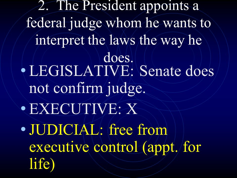 LEGISLATIVE: Senate does not confirm judge. EXECUTIVE: X