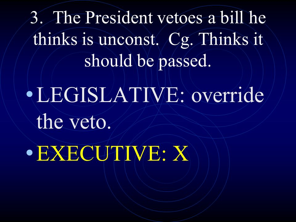 LEGISLATIVE: override the veto. EXECUTIVE: X