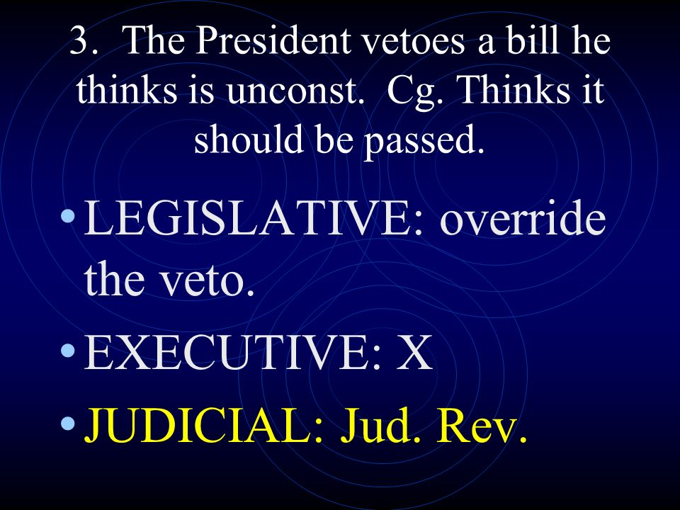 LEGISLATIVE: override the veto. EXECUTIVE: X JUDICIAL: Jud. Rev.