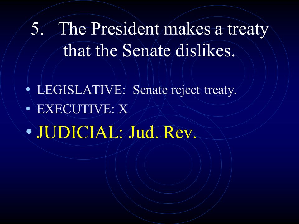 5. The President makes a treaty that the Senate dislikes.