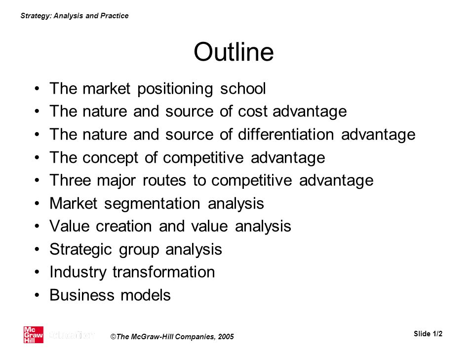 Outline The market positioning school