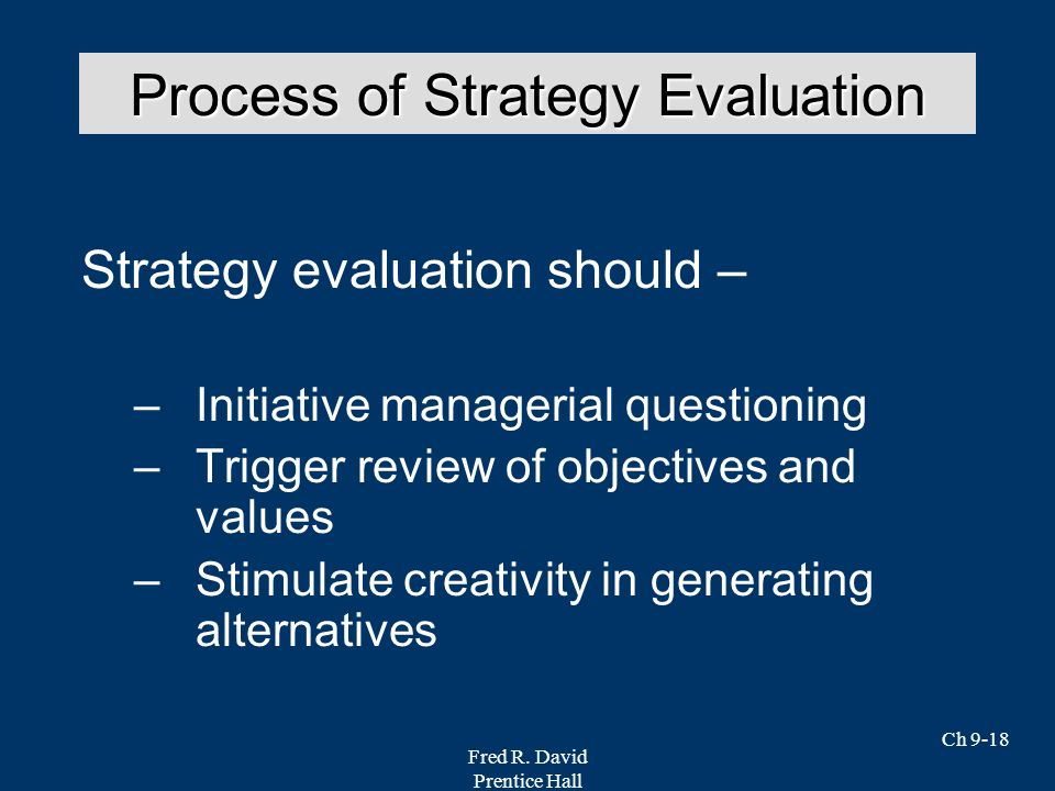 Process of Strategy Evaluation