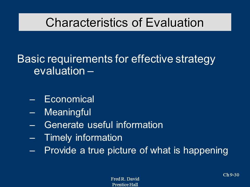 Characteristics of Evaluation