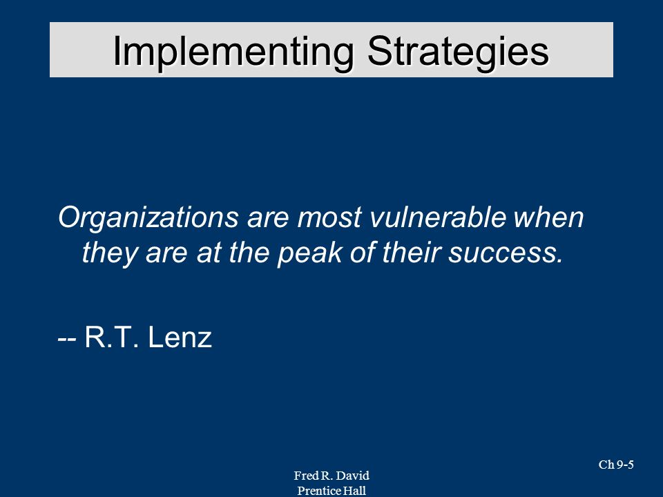 Implementing Strategies