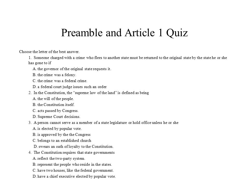 Review The Preamble And Article 1 For Quiz Ppt Download